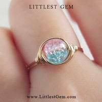 Aqua & Pink Cotton Candy Ring - unique rings - custom