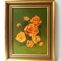 Vintage mid century original yellow roses on green background oil painting