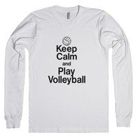 Keep calm and play volleyball-Unisex White T-Shirt