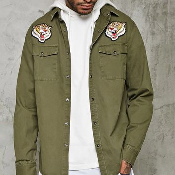 Tiger Patched Slim-Fit Shirt