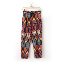 Korean Summer Women's Fashion Cotton Linen Pants Vintage Print Casual Cropped Pants [4919974916]