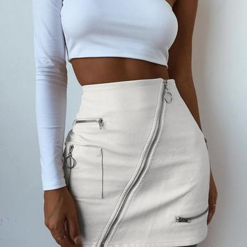 Side Zipper High Waist Skirt