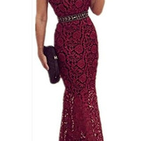 Yomoko Women's Halter Backless Lace Prom Evening Dresses Long Cocktail Party Dress