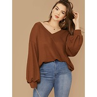 SHEIN Plus Drop Shoulder Lantern Sleeve Waffle Knit Top