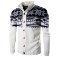 Winter Christmas Sweaters Men Cardigan Single Breasted
