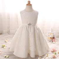 Baby Girl Clothes Dresses White Lace Flower Gown Summer 2018 Elegant Princess Baby Wedding Pageant Dress For Children Clothing