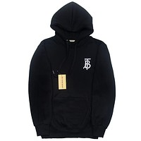 Balenciaga autumn and winter trend embroidery letter hooded loose hoodie Black