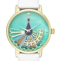 kate spade new york metro peacock leather strap watch, 34mm | Nordstrom