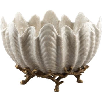 Shell Bowl on Bronze Stand (beige)