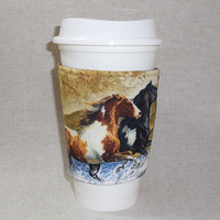 Beautiful Horse Themed Slide-On Coffee Cozy