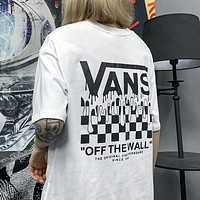 VANS new checkerboard short-sleeved T-shirt for women and men, hip-hop loose half-sleeved couple top