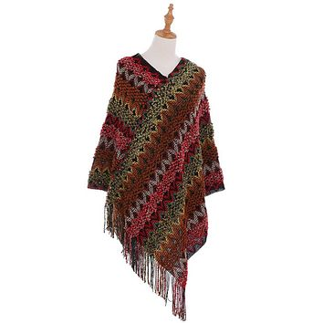 Knitted Multi Color Fringe Cape Poncho