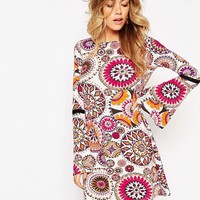 ASOS Swing Dress in Kaleidescope Print with Lace Inserts