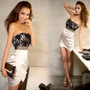 NEW Women Lady Sexy Lace Rivet Graceful Mini Strapless Evening Cocktail Dress