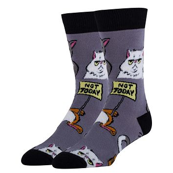 Not Today Men's Crew Socks in Cat Design