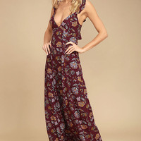 Simple Pleasure Burgundy Floral Print Maxi Dress