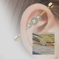 Rose Gold Industrial Barbell Triple Crystal