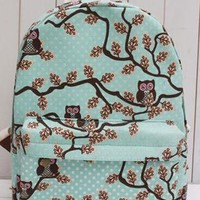Retro Owl Floral Print Canvas Backpack from styleonline