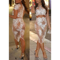 EMBROIDERED CROCHET LACE FASHION DRESS ( TWO-PIECE )