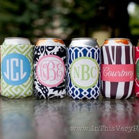 monogrammed drink koozies - choose one from 6 preset designs, customize name/initials only