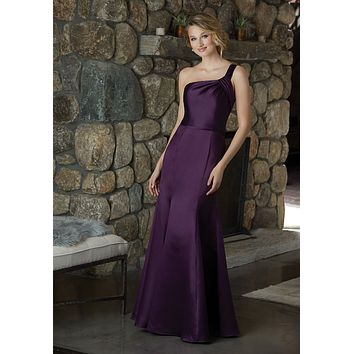 Morilee Bridesmaids 21587 One Shoulder Satin Bridesmaids Dress