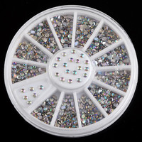 Shiny AB Color Nail Art Acrylic Rhinestones Decorations 3D Round Nail Studs Wheel Supplies For Nails ZP021