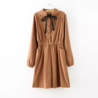 Solid Bow Tie Long Sleeve  Elastic Waist Pockets Mini Dress