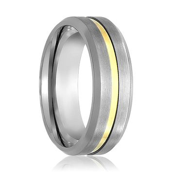 Men's Silver Brushed Tungsten Wedding Band with Gold Groove in Center - 7MM