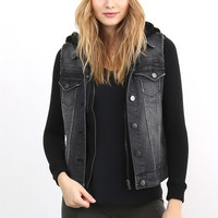 Tractr Denim Jacket With Faux Hood - Black