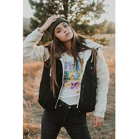 Kaylee Sherpa Black Denim Jacket