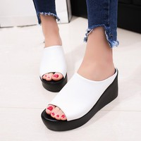 Fish Mouth Platform Sandals