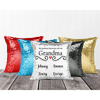 Personalized Sequin Throw Pillow | Custom Sequin Pillow | Grandma's Greatest Blessing