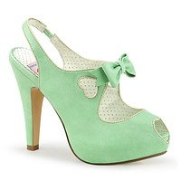"Bettie 03 Slingback Platform Sandal Heart Detail 4"" High Heel Mint"