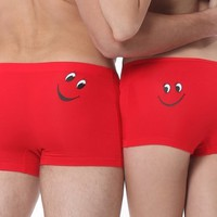 LEHU Sexy Red Smile Face Couple's Suite Pattern Modal Comfortable Boxer Underwear for Men and Women