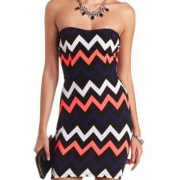 Textured Chevron Strapless Bodycon Dress by Charlotte Russe - Multi