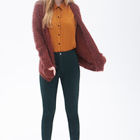 FOREVER 21 High-Rise - Skinny Flat Front Pant Hunter Green