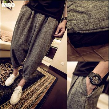 M-5XL Summer men clothing casual linen ankle length trousers plus size thin loose harem pants crimping bloomers singer costumes