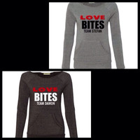 Love Bites - Vampire Diaries - Team Stefan - Team Damon  - Eco Fleece - Off the Shoulder Sweatshirt - Ruffles with Love - Racerback Tank - Womens Fitness - Workout Clothing - Workout Shirts with Sayings