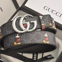 GUCCI GG mens and womens double G letter buckle smooth buckle belt-5