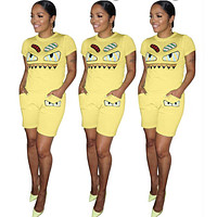 FENDI Fashion Women Personality Short Sleeve Top Shorts Set Two-Piece