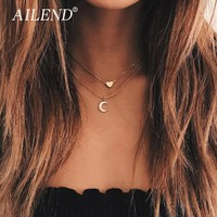 AILEND Retro New Necklace Fashion Multi-layer Love Moon Pendant Necklace Women's Necklace Combination Golden Jewelry Jewelry