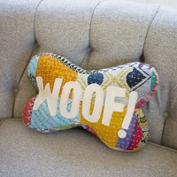 Kantha Bone Pillow - Woof !