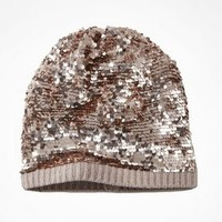 SLOUCHY SEQUIN BEANIE at Express