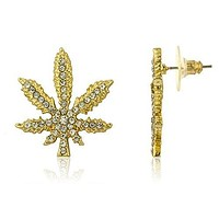 Goldtone Marijuana Leaf Stud Earrings with Clear Stones