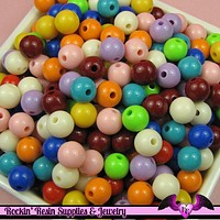 8mm GUMBALL BEADS in Bright Resin Acrylic Round Bead Assortment (50 pieces)