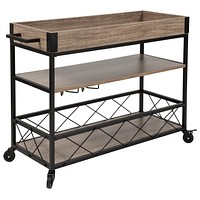Buckhead Distressed Wood Iron Kitchen Serving Bar Cart Wine Glass Holders