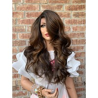 ADELLE Brown Balayage Hair Lace Wig 12""