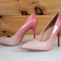 "In Demand Pink Blush Patent Ombre Blend Pointy Toe Pump Shoe 4.5"" Stiletto High Heels"