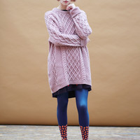 Oversized Knit Jumper Dusky Pink