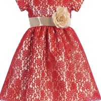 Girls Red Lace Dress w. Gold Satin Under-Layer 6m-7